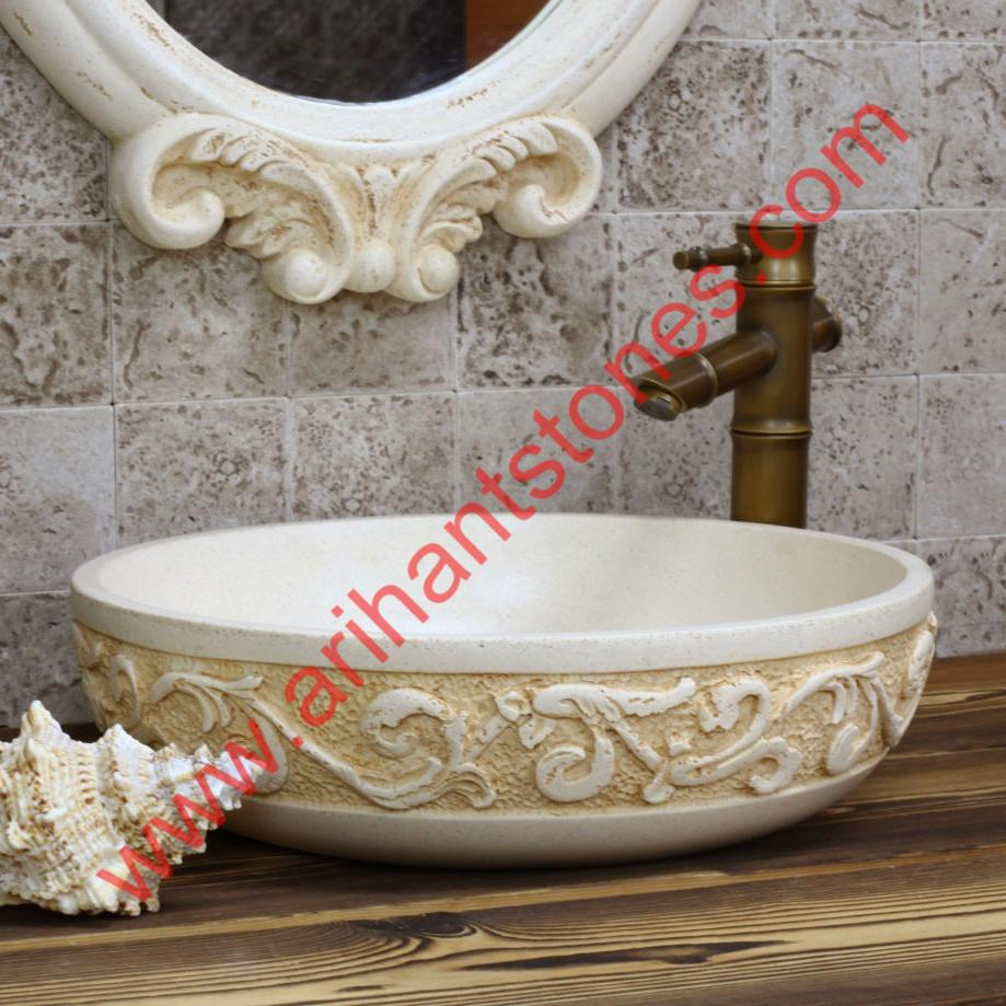 Ming Style Luxury Jiaou Counter Basin Carved Antique Art